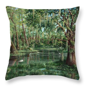 Throw Pillow featuring the painting The Preacher And His Flock by AnnaJo Vahle