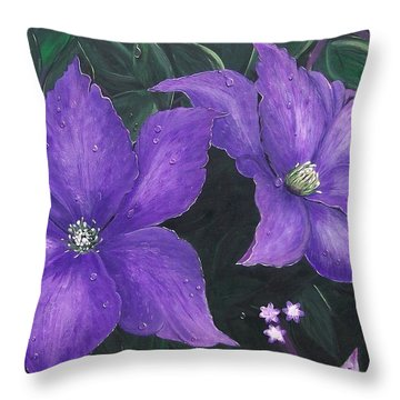 Throw Pillow featuring the painting The President Clematis by Sharon Duguay
