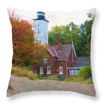 The Presque Isle Lighthouse Throw Pillow