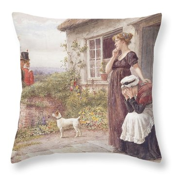 The Press Gang Throw Pillow by George Goodwin Kilburne