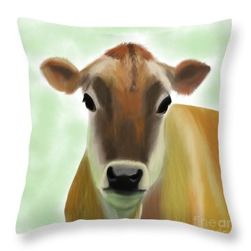 The Pretty Jersey Cow  Throw Pillow
