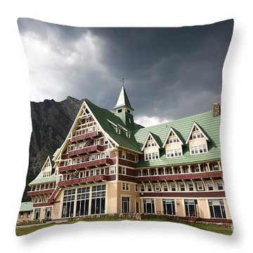 The Prince Of Wales Hotel Waterton Lakes Np  Throw Pillow by Teresa Zieba