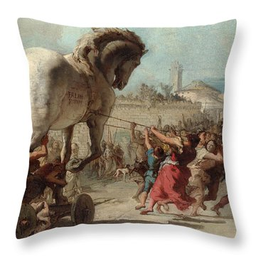 The Procession Of The Trojan Horse Into Troy Throw Pillow