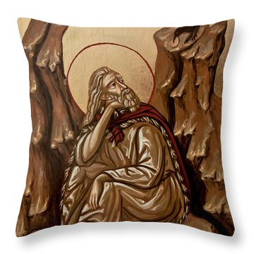 Throw Pillow featuring the painting The Prophet Elijah by Olimpia - Hinamatsuri Barbu