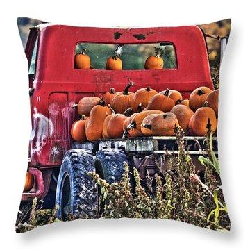 The Pumpkin Hauler Throw Pillow