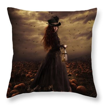 The Pumpkin Patch Throw Pillow by Shanina Conway