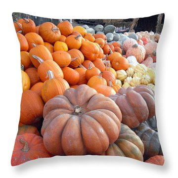 The Pumpkin Stand Throw Pillow by Richard Reeve