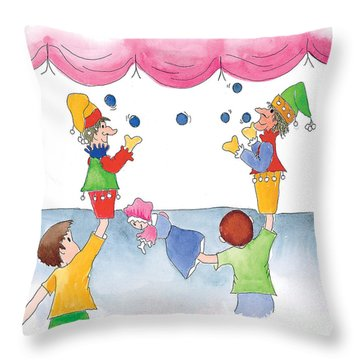 The Puppet Show Throw Pillow by Leah Wiedemer