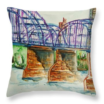 The Purple People Bridge Throw Pillow