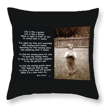 The Puzzle Throw Pillow by Ron Haist