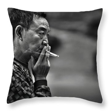 Throw Pillow featuring the photograph The Pyjamaman by Michel Verhoef