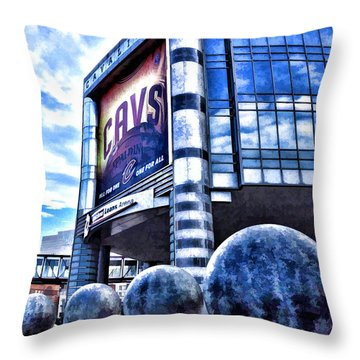 The Q - Home Of The 2016 Nba Champion Cleveland Cavaliers - 1 Throw Pillow