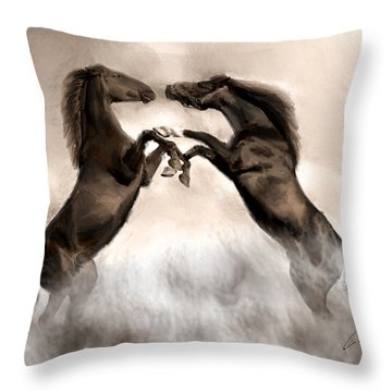 Throw Pillow featuring the painting The Quarrel by Charlie Roman