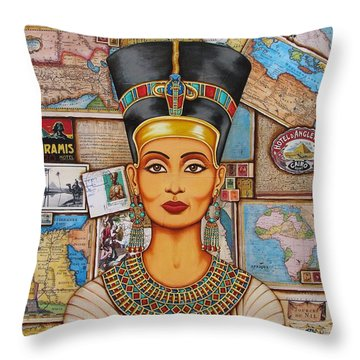 The Queen Of Amarna Throw Pillow by Joseph Sonday