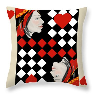 Throw Pillow featuring the painting The Queen On Her Card by Carol Jacobs
