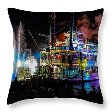 The Mark Twain Disneyland Steamboat  Throw Pillow