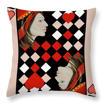 The Queen's Card In Pink Throw Pillow by Carol Jacobs