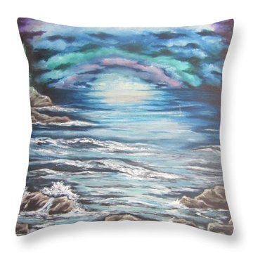 Throw Pillow featuring the painting The Quiet Coast by Cheryl Pettigrew