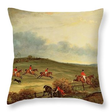 The Quorn In Full Cry Near Tiptoe Hill Throw Pillow by John E Ferneley