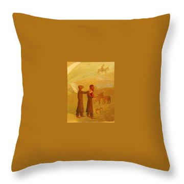 The Rabbi Leading The Angel Throw Pillow