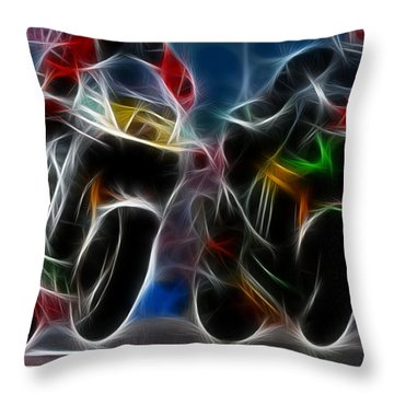 The Racers Throw Pillow by Lawrence Christopher