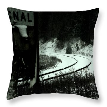 The Rail To Anywhere Throw Pillow by Linda Shafer