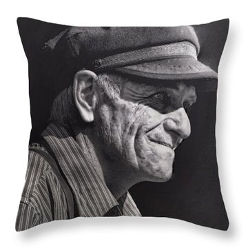 Throw Pillow featuring the photograph The Railwayman by Wallaroo Images