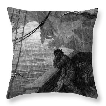 The Rain Begins To Fall Throw Pillow by Gustave Dore