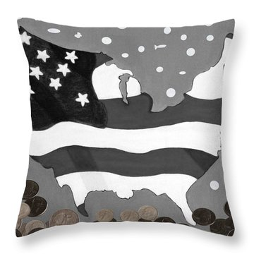 The Rain Money Bread And Fish Throw Pillow by Lorna Maza