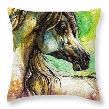 The Rainbow Colored Arabian Horse Throw Pillow