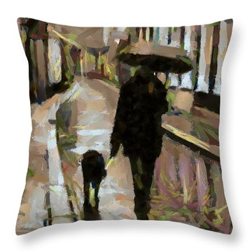 The Rainy Walk Throw Pillow
