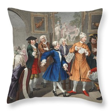 The Rakes Levee, Plate II, From A Rakes Throw Pillow by William Hogarth