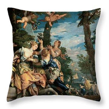 The Rape Of Europa Throw Pillow by Veronese
