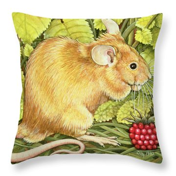 The Raspberry Mouse Throw Pillow by Ditz