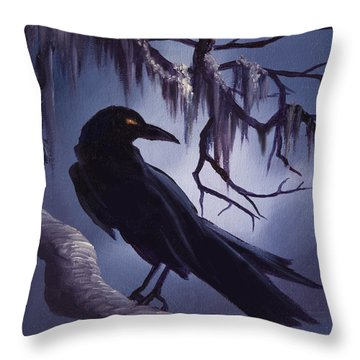 The Raven Throw Pillow by James Christopher Hill