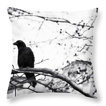 The Raven Throw Pillow by John Rizzuto