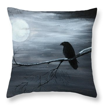 The Raven Piece 2 Of 2 Throw Pillow by Gray  Artus
