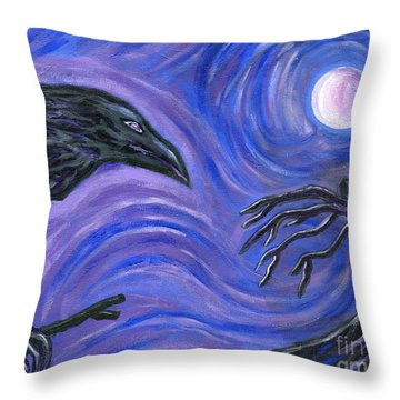 The Raven Throw Pillow by Roz Abellera Art