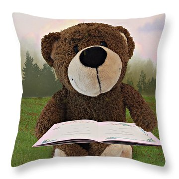 The Reader Throw Pillow by Judy  Johnson