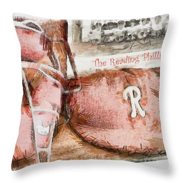 The Reading Phillies Throw Pillow by Trish Tritz