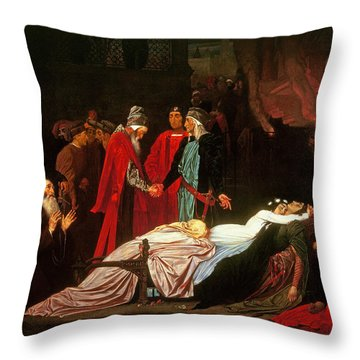 The Reconciliation Of The Montagues And The Capulets Over The Dead Bodies Of Romeo And Juliet Oil Throw Pillow