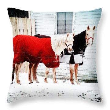 The Red And The Black Throw Pillow by Zinvolle Art