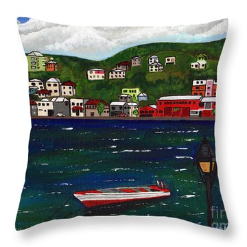 Throw Pillow featuring the painting The Red And White Fishing Boat Carenage Grenada by Laura Forde