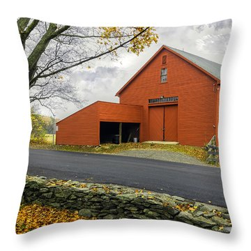 The Red Barn At The John Greenleaf Whittier Birthplace Throw Pillow