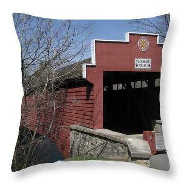 Throw Pillow featuring the photograph The Red Bridge Or Wertz's Cover Bridge by Donna Brown