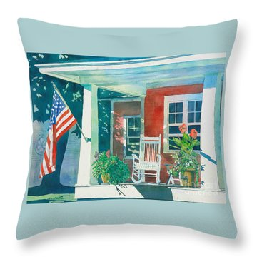 Throw Pillow featuring the painting The Red Cottage by LeAnne Sowa