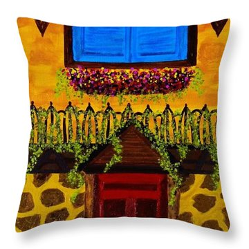 The Red Door Throw Pillow by Celeste Manning