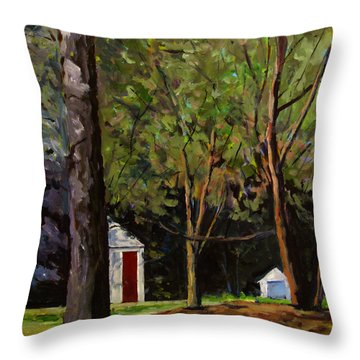 The Red Door Throw Pillow by Charlie Spear