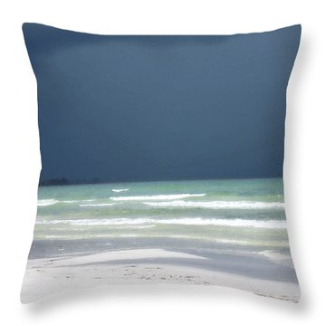 The Red Dress - Beach Art By Sharon Cummings Throw Pillow