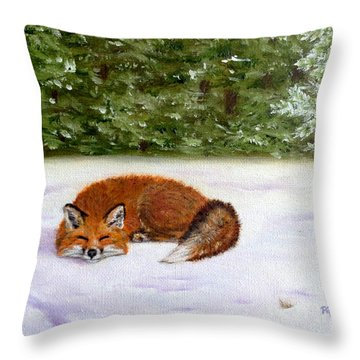 The Red Fox Of Winter Throw Pillow